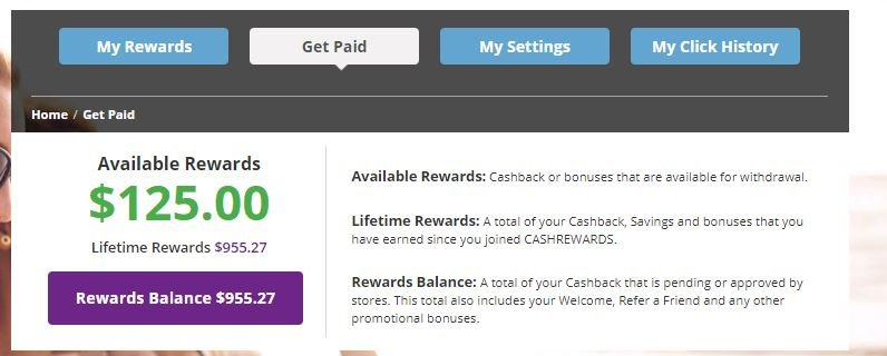 Get paid options with Cashrewards
