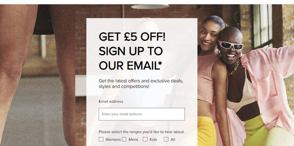 Screenshot of the email signup form on the Schuh Imperfects website