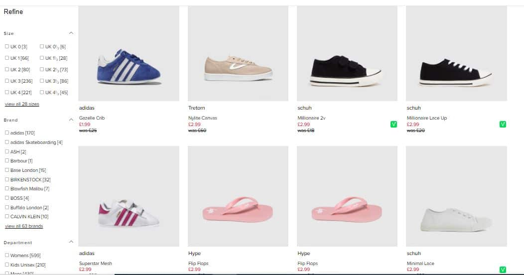 The Schuh Imperfects website has kids shoes for bargain prices. Screenshot of children's adidas shoes among others.