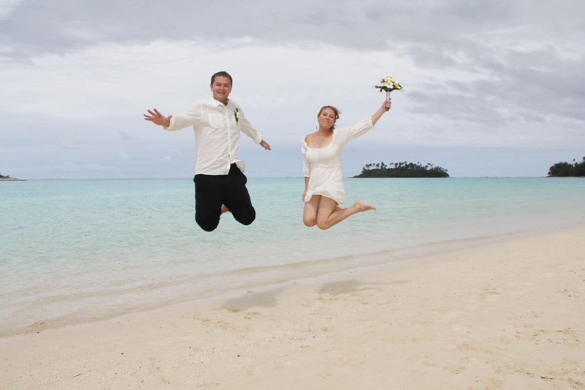 Part of our plan when we decided to save money for travel was to get married overseas. This is a piciture of us jumping on the beach after our budget-friendly wedding in the Cook Islands.
