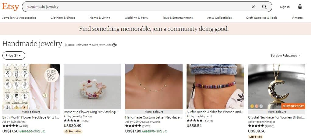 Screenshot of handmade jewelry category listing on the Etsy website in an article about the best things to sell on Etsy to make money.
